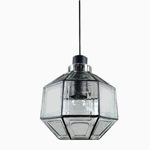 Mid-Century Octagonal Iron & Glass Pendant Lamp from Limburg