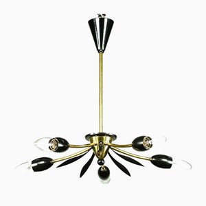 Sputnik Lamp Brass and Black Spider Pendant Lamp, 1950s