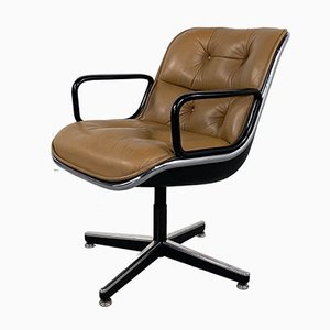 Camel Leather Office Chair by Charles Pollock for Knoll Inc. / Knoll International, 1970s