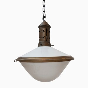 Antique French 2-Tone Pendant Lamp