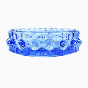 Cuenco checoslovaco de vidrio azul de Frantisek Pečený, años 60