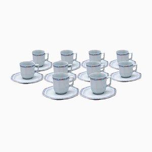 Tazas de café serie 10 con decoración de pomelo de Limoges. Juego de 20
