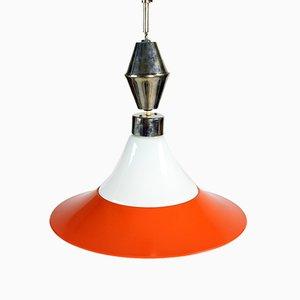 Czechoslovakian White Opaline & Brass Pull-Down Ceiling Lamp, 1960s