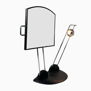 Specchio da tavolo regolabile con base in ghisa, anni '80