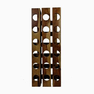 Walnut Wall-Mounted Wine Rack, 1970s