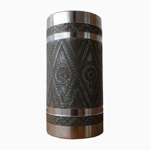 Vaso grande Mid-Century brutalista in metallo
