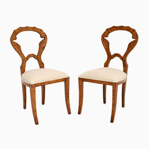 Antique Biedermeier Burr Walnut Side Chairs, Set of 2