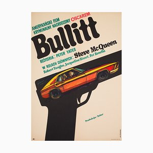 Polish Film Poster Promoting Bullitt by Stachurski, 1971