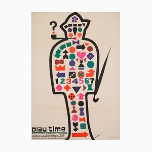 Polish Film Poster Promoting Playtime by Flisak, 1971