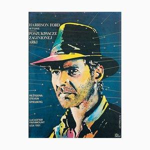 Polnisches Filmplakat zur Förderung der Jäger des verlorenen Schatzes von Lakomski, 1983