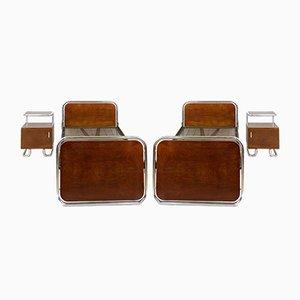 Bauhaus Schlafzimmer Set aus Stahlrohr, 1940er, 4er Set