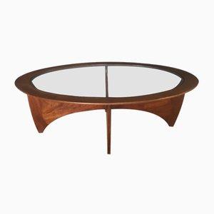 Mesa de centro Astro ovalada de vidrio y teca de G-Plan, años 60