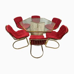 Table and Chairs by Willy Rizzo, Italy, 1970s, Set of 7