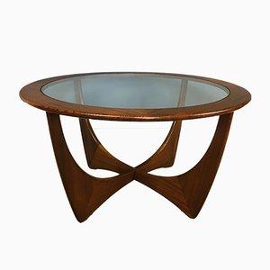 Mesa de centro Astro Mid-Century redonda de teca y vidrio de G-Plan