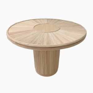 Mesa de comedor Mid-Century redonda de madera y ratán con marquetería
