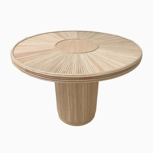 Mid-Century Round Wood & Rattan Pedestal Dining Table with Marquetry