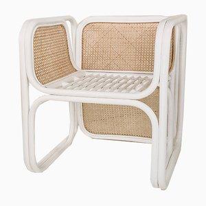 Handgearbeiteter geflochtener Vintage Korbgeflecht Schilfrohr Stuhl aus weiß lackiertem Rattan