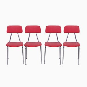 Vintage Vinyl Kitchen Chairs in Red, Set of 4