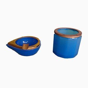 Blauer Aschenbecher & Zigarettenhalter aus Opalglas, 2er Set