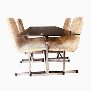 Mesa de comedor Mid-Century de cristal ahumado y cuatro sillas a juego de Tim Bates para Pieff. Juego de 5