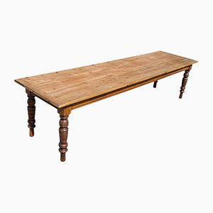 Large Antique English Pine & Mahogany Farmhouse Table, 1900s
