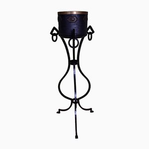 Art Deco Wrought-Iron Plant Stand with Cachepot, Set of 2