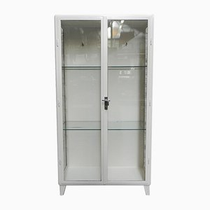 Vintage Industrial Steel Medical Cabinet with 2 Glass Doors