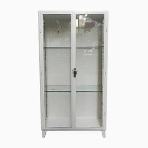 Vitrina médica industrial vintage de acero con dos puertas de vidrio