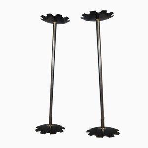 Braciere in ferro nero per uso esterno o interno, anni '90, set di 2