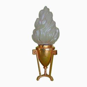 Lampada da tavolo piccola vintage in bronzo con torcia in vetro