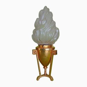 Small Vintage Bronze Table Lamp with Torch Glass