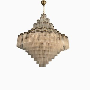 Large Liberty Style Murano Glass Rod Chandelier, 1960s