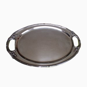 Large Argentinian Silver-Plated Serving Plate by Juan Inassi