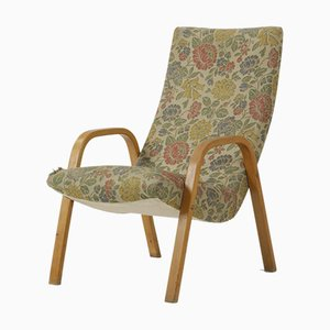 Wooden Armchair with Floral Fabric Upholstery, 1960s
