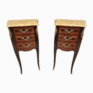 Marquetry Louis XV Style Bedside Tables, Set of 2