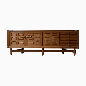 Mid-Century French Oak and Ceramic Credenza by Guillerme & Chambron