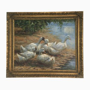 Pintura al óleo en marco, patos Family, Muller Cornelis Bastiaan