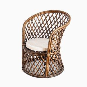 Französischer Stuhl aus Schilfrohr & Rattan, 1970er
