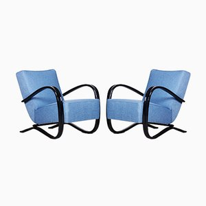 Czech Art Deco Blue H-269 Armchairs by Jindřich Halabala for UP Závody, 1930s, Set of 2