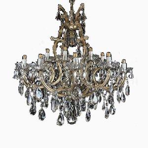 Lámpara de araña Maria Theresa italiana vintage grande de cristal de 21 luces