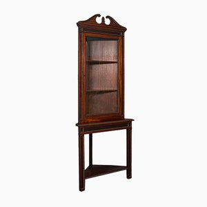 Mueble esquinero inglés antiguo alto de caoba, década de 1900
