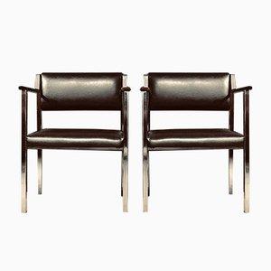 Mid-Century Armlehnstühle aus Edelstahl & Palisander, 2er Set