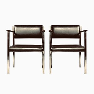 Mid-Century Stainless Steel & Rosewood Armchairs, Set of 2