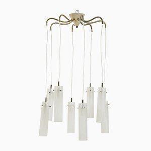 Lámpara de araña con estructura de latón y metal lacado, años 50