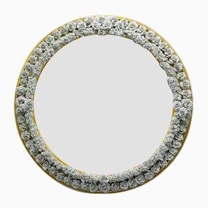 Espejo con marco de porcelana y madera de Giulio Tucci