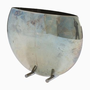 Italian Silver Metal Vase, 1970s
