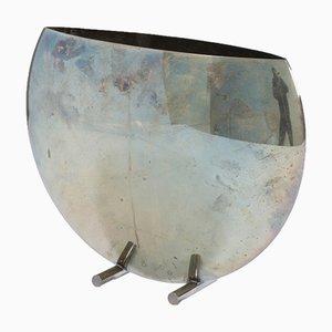 Jarrón italiano de metal plateado, años 70