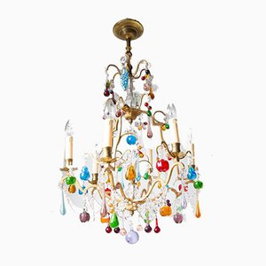 French Chandelier with Colored Crystal Fruits Leaves