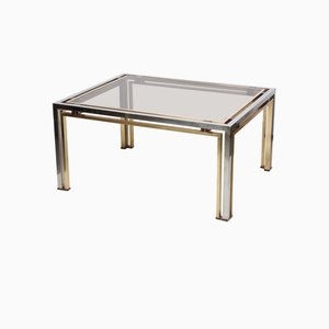 Italian Brass, Smoked Glass & Chrome Coffee Table, 1970s
