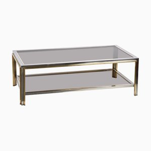 Italian Brass & Chrome Coffee Table, 1970s